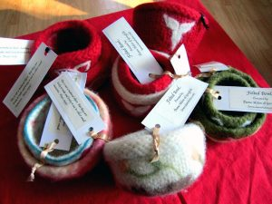Felted bowls, by Dame Helen of Greyfells.
