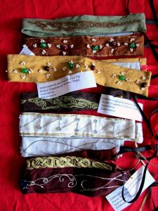 Embroidered and embellished head bands, by Lady Kaisa Haapala.