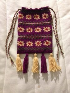 Knit pouch, by TH Lady Eluned verch Angor.