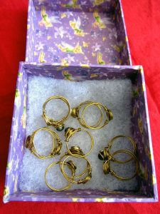 Wire rings, by Lady Bridget of Cornwall.