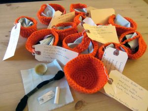Crochet baskets with sewing kits, by Rose and Eoin of Greyfells.